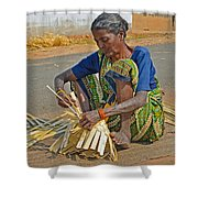 Indian Aged Woman Working Shower Curtain
