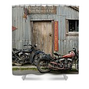 Indian Chout And Chief Bobber At The Old Okains Bay Garage Shower Curtain