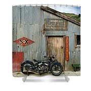 Indian Chout At The Old Okains Bay Garage 1 Shower Curtain