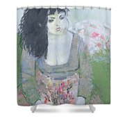 Indian Earring Dark-haired Girl In Green Oil On Canvas Shower Curtain