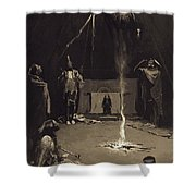 Indian Fire God. The Going Of The Medicine-horse Shower Curtain
