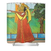 Indian Lady Playing Ancient Musical Instrument Shower Curtain