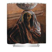 Indian Lady With Bowl Shower Curtain