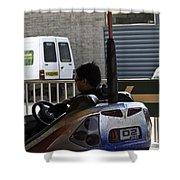 Indian Man Enjoying In A Bumper Cars Ride In An Entertainment Park Shower Curtain