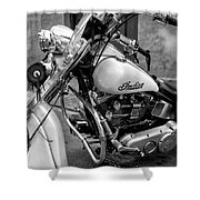 Indian Motorcycle In French Quarter-bw Shower Curtain
