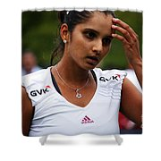 Indian Tennis Player Sania Mirza Shower Curtain by Nishanth Gopinathan