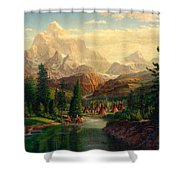 Indian Village Trapper Western Mountain Landscape Oil Painting - Native Americans -square Format Shower Curtain