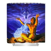 Indian Wolf Spirit Shower Curtain