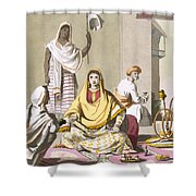 Indian Woman In Her Finery, With Guests Shower Curtain