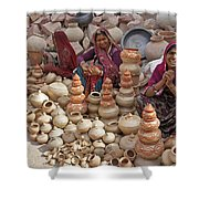 Indian Women Selling Pottery Shower Curtain