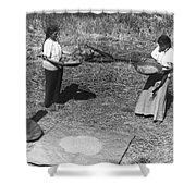 Indian Women Winnowing Wheat Shower Curtain