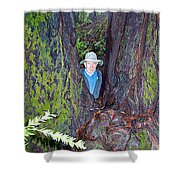 Indiana Jones In Armstrong Redwoods State Preserve Near Guerneville-ca Shower Curtain