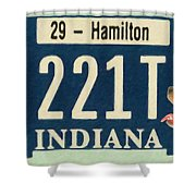 Indiana License Plate Shower Curtain
