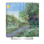 Indiana Spring Afternoon By The Creek Shower Curtain
