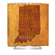 Indiana State Word Art On Canvas Shower Curtain by Design Turnpike