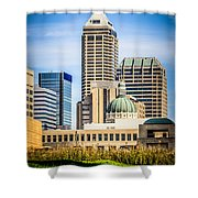 Indianapolis Cityscape Downtown City Buildings Shower Curtain by Paul Velgos
