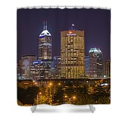 Indianapolis Night Skyline Echo Shower Curtain