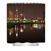 Indianapolis Skyline At Night Indy Downtown Color Panorama Shower Curtain