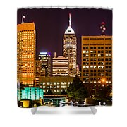 Indianapolis Skyline At Night Picture Shower Curtain by Paul Velgos