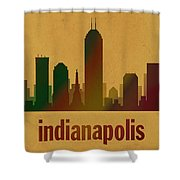 Indianapolis Skyline Watercolor On Parchment Shower Curtain