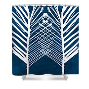 Indigo And White Leaves- Abstract Art Shower Curtain by Linda Woods