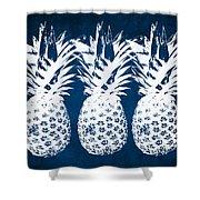 Indigo And White Pineapples Shower Curtain