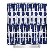 Indigo And White Shibori Design Shower Curtain