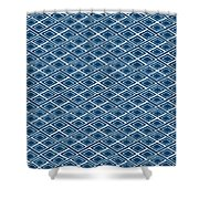 Indigo And White Small Diamonds- Pattern Shower Curtain