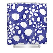 Indigo Bubbles- Contemporary Absrtract Watercolor Shower Curtain by Linda Woods