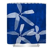 Indigo Flowers Shower Curtain by Linda Woods
