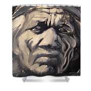 Indio Indian Black And White Oil Painting Shower Curtain