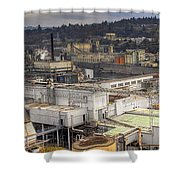 Industrial Area Along River Panorama Shower Curtain