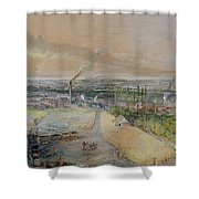 Industrial Landscape In The Blanzy Coal Field Shower Curtain by Ignace Francois Bonhomme