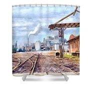 Industrial Railroad Scene  Shower Curtain