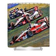 Indy Car's Penske Team Juan Montoya Helio Castroneves Will Power   Shower Curtain