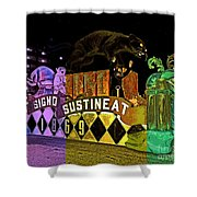 Infant Mystics Emblem In Mardi Gras Colors Shower Curtain