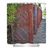 Infinite Red Doors Shower Curtain