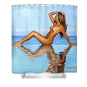 Infinity Pool Nude Shower Curtain
