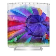 Inflating The Rainbow Hot Air Balloon Photo Art Shower Curtain