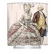 Informal Wedding Dress, Engraved Shower Curtain