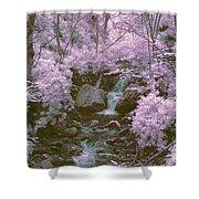 Infrared Mountain Stream Shower Curtain