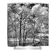 Infrared Stream Shower Curtain