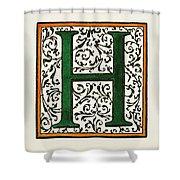 Initial 'h', C1600 Shower Curtain
