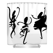 Ink Painting With Abstract Dancers  Shower Curtain