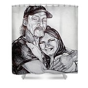 Ink Portrait Of My Father And I Shower Curtain
