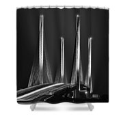Inlet Bridge Light Trails In Black And White Shower Curtain