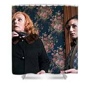 Inside A House, Two Women Stand Looking Shower Curtain
