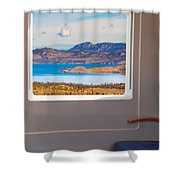 Inside High-speed Train Shower Curtain