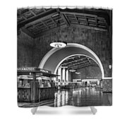 Inside Los Angeles Union Station In Black And White Shower Curtain