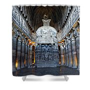 Inside One Of The Ajanta Caves Shower Curtain